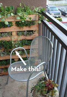 garden ideas, balcony garden, wooden pallets, herbs garden, pallet gardening