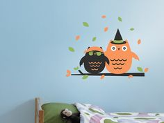 Halloween Costumed Owls Wall Decal, Wall Sticker, and Wall Decor.