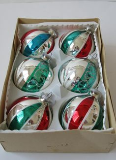 Vintage Glass Ball Ornaments, Set of 6