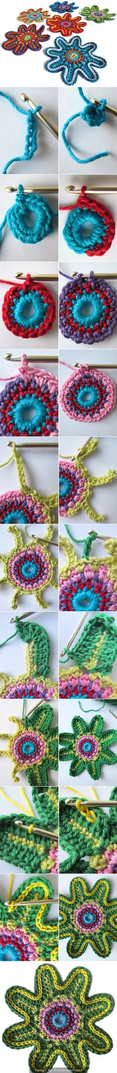 "#Crochet #Tutorial for these wonderful flower motifs from a Dutch blog that has a translation. #KnittingGuru http://www.pinterest.com/KnittingGuru Go to handwerkjuffie.blogspot.nl  to get the exact directions."" ~~"