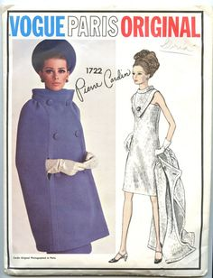 Vogue 1722 - 1960s Vogue Paris Original Pattern - designed by Pierre Cardin - seller is GreyDogVintage on Etsy - $85.00 #60s #retro #vintage