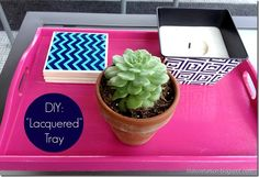 """DIY """"Lacquered"""" Tray for your #dorm"""