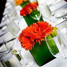 Orange Gerberas Daisies, Green Vases