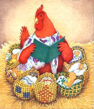 Little Red Hen reading to all her little chicks who are wrapped up in blankets and put to bed in baskets. Is this a Mexican version?