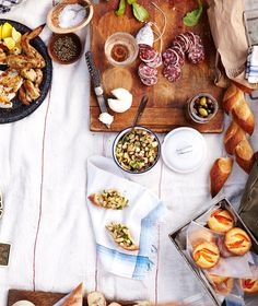 A French Picnic Menu to with Roast Chicken, White Bean Tapenade, Marinated Vegetables, and Little Apricot Cakes: BA Daily