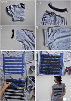 graphic tees diy, diy shirt, diy graphic tee, oversized tshirt refashion, stripe tshirt, stripe tee, t shirts, diy stripe