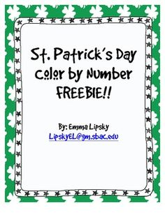 St. Patrick's Day Color by Number FREEBIE!! Help the leprechaun find his pot of gold!