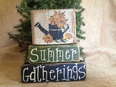 Primitive Country Sunflower Watering Summer Gatherings Shelf Sitter Wood Blocks #PrimitiveSunflower