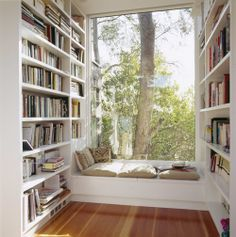 Reading nook.  I love the huge window...reading and weather watching <3