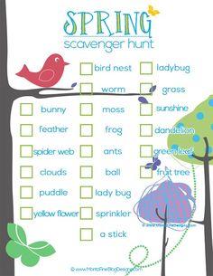 scavenger hunts for kids, spring scavenger hunt for kids, beauti spring, scaveng hunt, kids outside