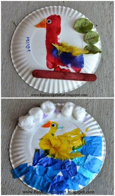 Footprint Parrot & Handprint Duck paper plate craft.