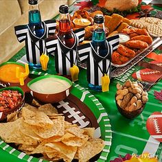 Football party tableware makes gametime snacking more fun.