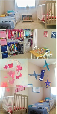 Shared Toddler Boy and Baby Girl Room-Shared Closet, Pink and Blue, Kid's Room