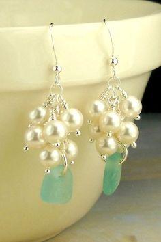 Genuine Sea Glass Jewelry Rare Turquoise Sea Glass Earrings With Pearls | Surfside Sea Glass Jewelry