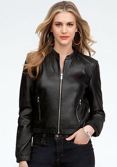 bebe | Leather Bomber Jacket