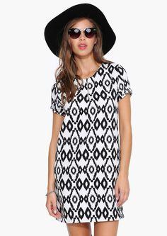 Beautiful black and white print dress.