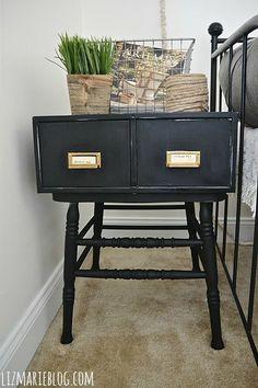DIY card catalog side table. Filing cabinet + DIning table chair = Card catalog side table. - lizmarieblog.com