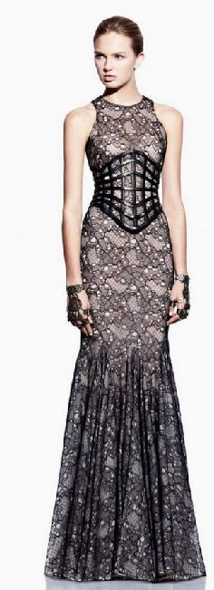 Leather and lace gown