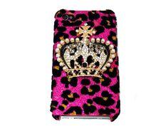 Bling Crystal Velvet Leopard Pink Crown Back Case