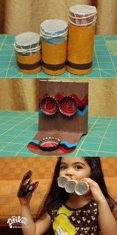 Pan Flute Kazoo and Bottle Cap Clacker. An Original #kids #craft by www.piikeastreet.com #piikeastreet