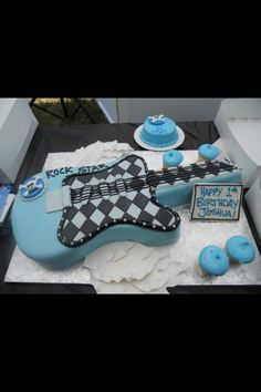 Blue Black Checkered Rock In Roll CAKE
