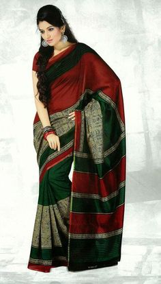 USD 38.17 Red Bhagalpuri Silk Printed Saree   37113