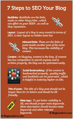 7 steps to #SEO your #Blog [Infographic] #www.dapmediagroup.com I am so tired of Penguin and Panda updates. Aren't you? No SEO Forever - A Bestselling book on Amazon. http://getaccess.me/no-seo-forever-pinterest
