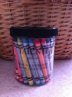 Those Talenti Gelato containers are perfect for holding the 64 pack of crayons. I've never liked trying to put the crayons back into the narrow paper containers.