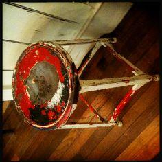 Vintage red metal step stool