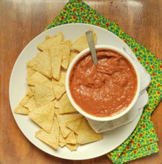 fat-free black bean dip + tortilla chips