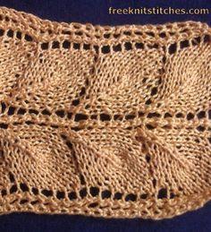 Leaves stripe knitting stitches