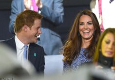 Royal laughs: Prince Harry and Kate Middleton share a joke during the Olympic Games Closing Ceremony