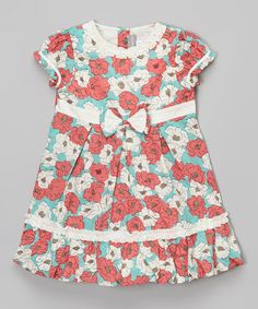 This Red & Blue Floral Bow Dress - Infant & Toddler by Alouette is perfect! #zulilyfinds