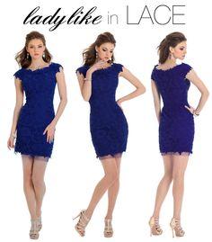 Camille La Vie blue homecoming short lace dress