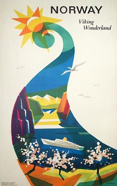 Norway vintage travel poster  ♥ ♥  www.paintingyouwithwords.com