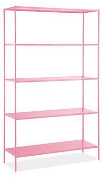 pink metal shelves