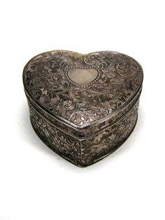 Vintage trinket box heart shaped ornate silver by LogicFreeVintage, $23.00