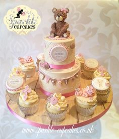 Vintage Cub Teddy Bear Christening Cake with matching cupcakes - Cake by Sparkle Cupcakes
