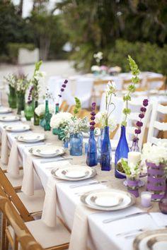 Arranjo de Mesa para Festas / Decoração com Garrafas de Vidro / DIY Decoration / DIY Wedding