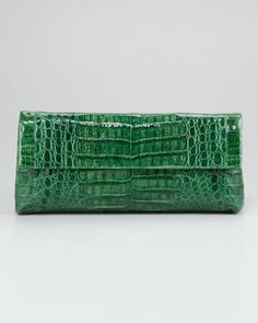 Crocodile Flap Clutch, Large -   Nancy Gonzalez