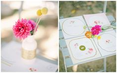 colorful wedding inspiration, pink dahlias, yellow billy balls, floral wedding stationery, gold details