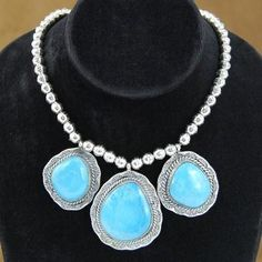 Native American Turquoise and Sterling Silver Necklace by Navajo Indian artist EMERSON