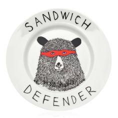 """Sandwich Defender"" Plate | Jimbob Art | Wolf & Badger ($20-50) - Svpply"