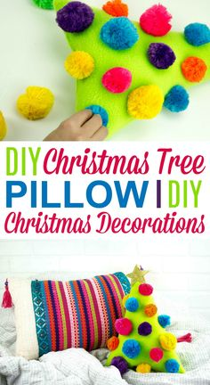 This is a great DIY Christmas Tree Pillow | DIY Christmas  Decorations perfect for anyone on your list. This cute pillow would look  wonderful anywhere in your home or on your bed for the holiday season. #christmas #diychristmas #holidays #diyholidayideas  #diychristmasideas #diychristmasdecor #diychristmasgiftideas #christmascrafts  #christmaskidcrafts #diygiftideas #christmasdiy #christmascrafts  #diychristmasideas