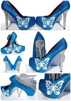 Butterfly Blue Glitter Heels with Swarovski by WickedAddiction, $175.00