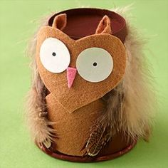 Paper Cup Owl  This adorable little hooter uses a paper cup for the body and felt and feathers to add the features.
