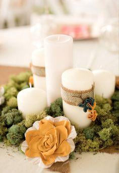 Burlap candle accents