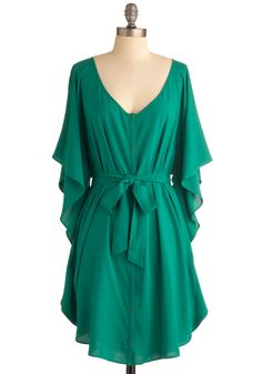 Gimme!!!  You and Me Forever Dress in Green by Jack by BB Dakota - Green, Solid, Buttons, Sheath / Shift, Ruffles, Casual, 3/4 Sleeve, Mid-length