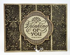 SU 	Stamps:  Just Thinking #129940  	Ink:  Pool Party #126982  	Card Stock:  Whisper White #100730, Pool Party Core'dinations #129321  	Tools/Accessories:  Vintage Wallpaper Embossing Folder #120175, Stampin Sanding System #129367, Window Frames Framelits #129021, Stampin Trimmer #126889, Big Shot Die Cut Machine #113439