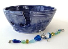 Rich Blue Stoneware Yarn Bowl Set  Free Shipping by JoyceSloanim, $46.00